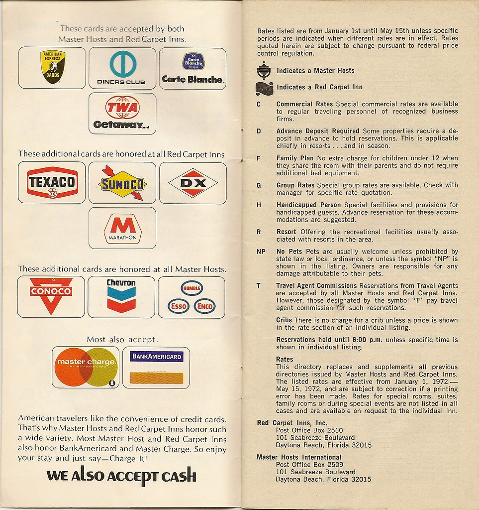 Phillips 66 Credit Card >> '72 Master Hosts and Red Carpet Inns directory, credit car…   Flickr