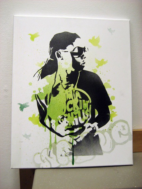lil wayne 16 x 20 spray paint on canvas yes you can. Black Bedroom Furniture Sets. Home Design Ideas