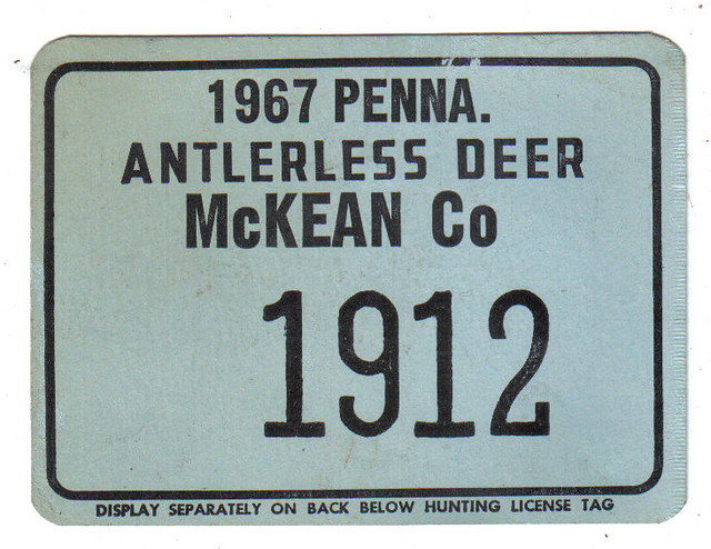 Pennsylvania 1967 deer hunting license license plates fo for Pa fishing license