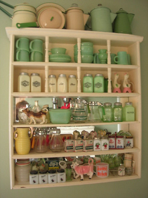 Update cupboard oct 08 lower shelves change jadite for Kitchen decor collections