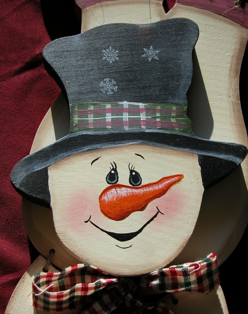 painted snowman wooden crafts upsidedown wodden handpainte
