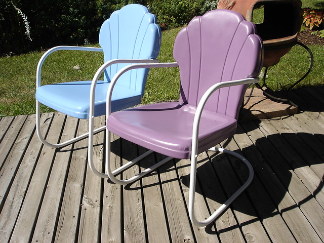 ... Our Vintage Shell Back Metal Lawn Chairs | By CB160 Guy