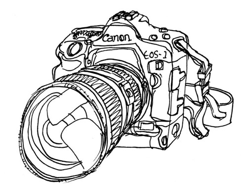 Line Art Digital : Eos d mkii line drawing of my camera joe flickr