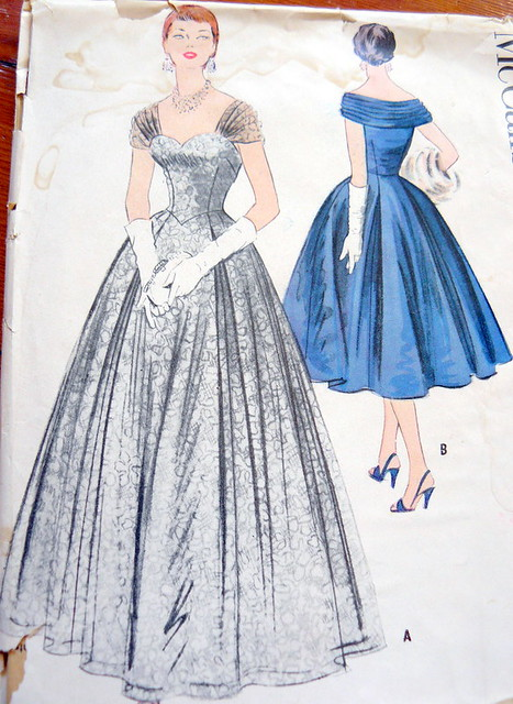Vintage Sewing Pattern 40s Gown Dress Full Skirt Flickr Impressive Full Skirt Pattern