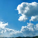 photomerge of a blue sky with clouds 9200x2800