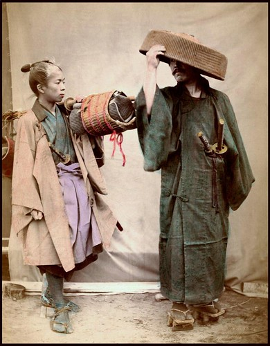 samurai and chugen getting ready for travel in old japan