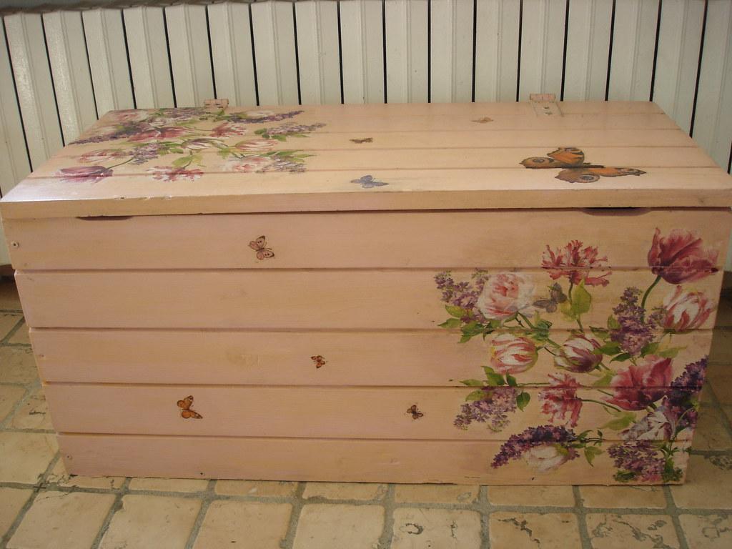 Collezione 018 cassapanca decorata con decoupage a - Cassapanca decorata ...