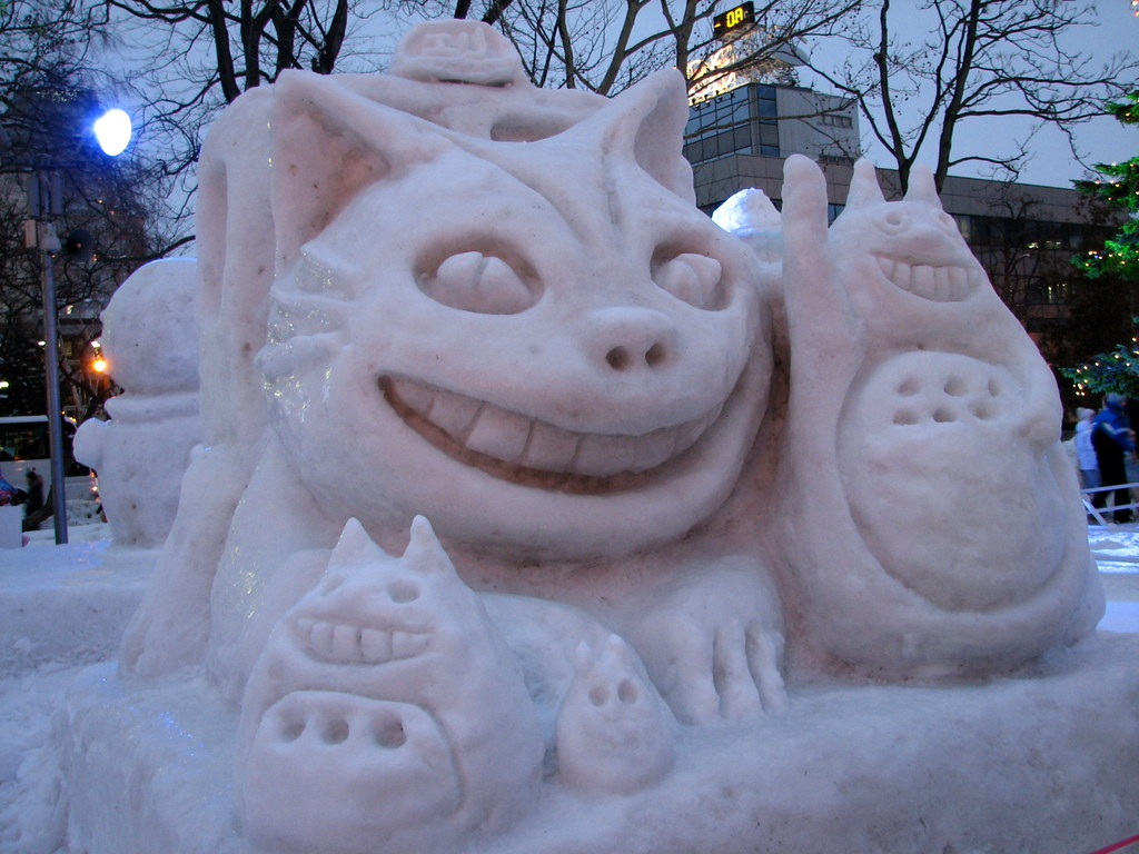 Totoro the magic cat bus snow sculptures sapporo