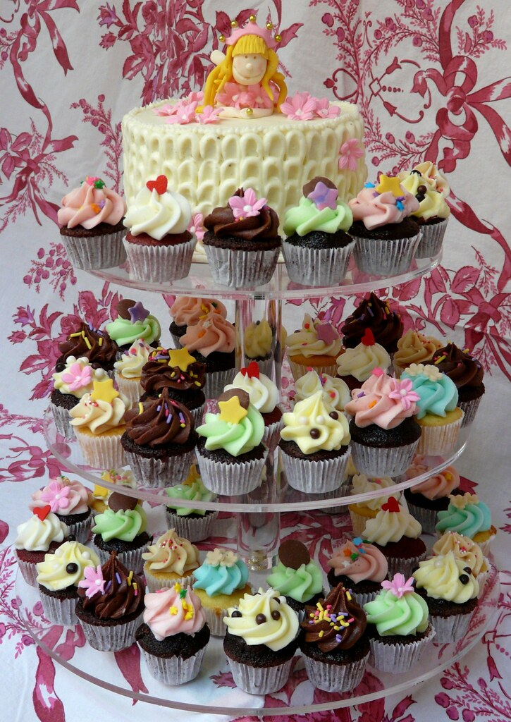 Princess Fairy Cake & Cupcake Tower | 6 inch Red Velvet ...