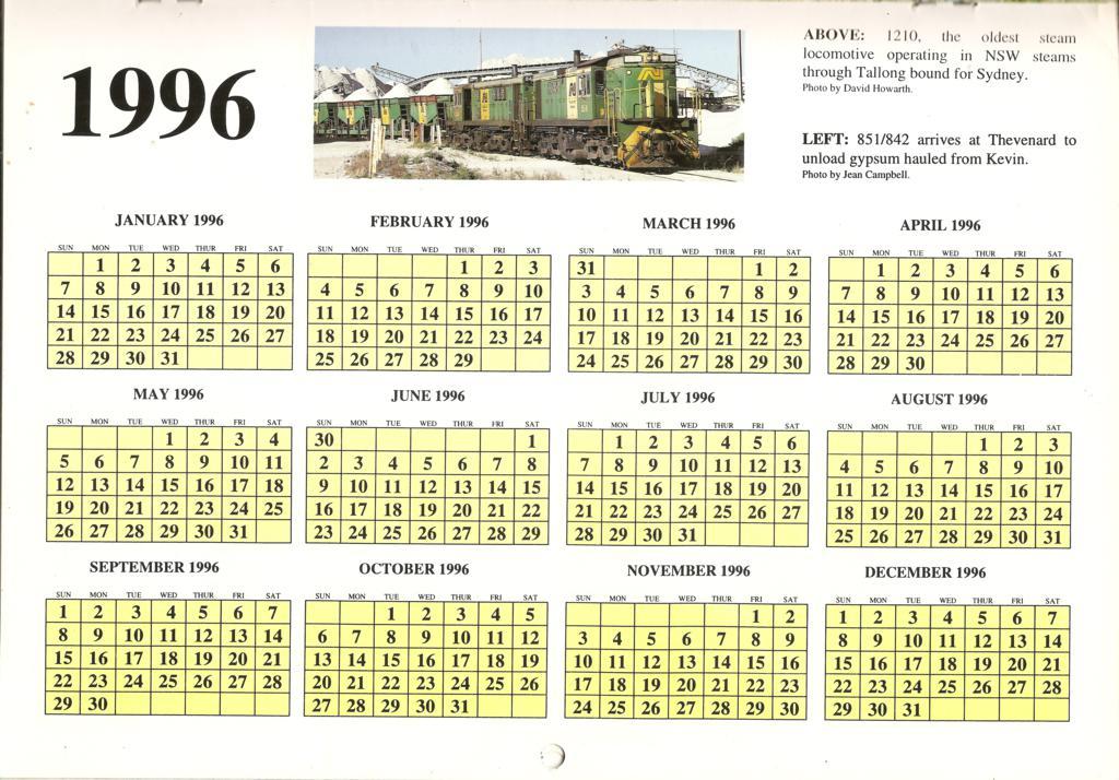 1996ATC0015Year calendar page 1996 Australian Trains Calen…