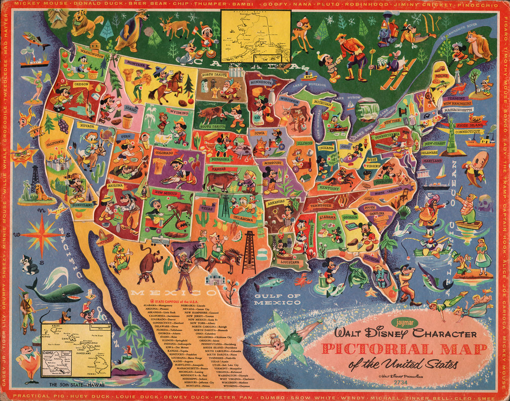 Walt Disney character pictorial map of the United States b Flickr