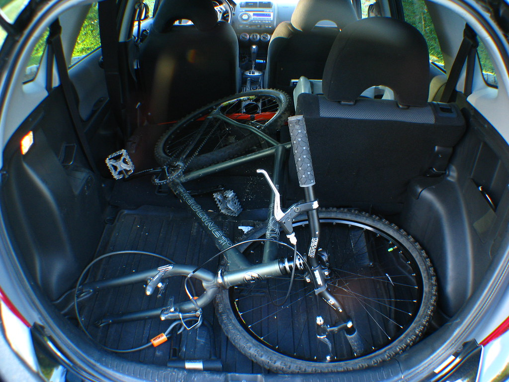 Mountain Bike In The Back Of The Honda Fit The Back Seat