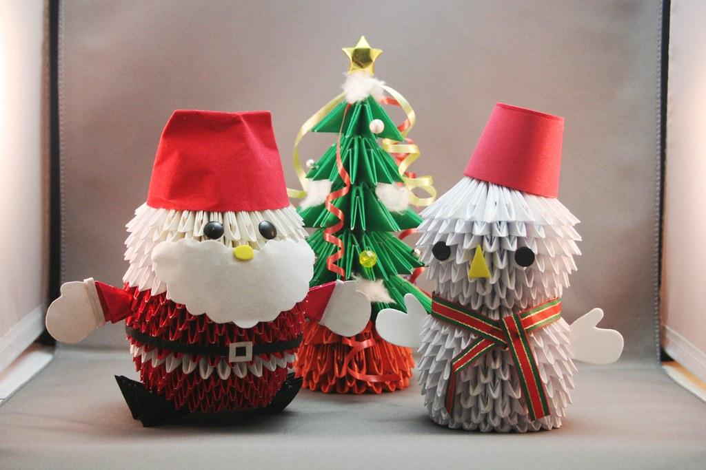 Conjunto De Natal Em Origami Papai Noel 193 Rvore De Natal