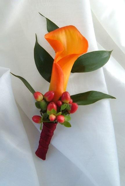 Boutonniere Calla Lily Orange Berries Fall Anne Anderson