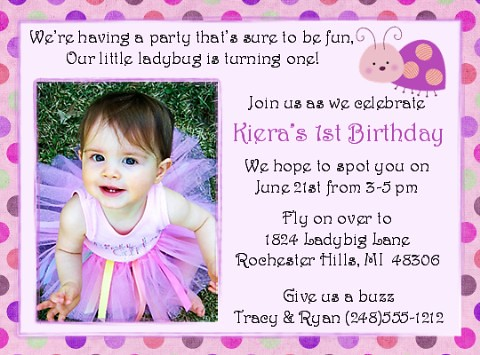 Ladybug Pink Dot ~ First Birthday Invitation ...