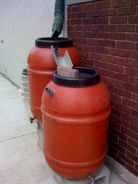 Rain barrel water harvesting system at our for Making rain barrel system