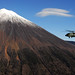 Helicopter flies by Mt. Fuji