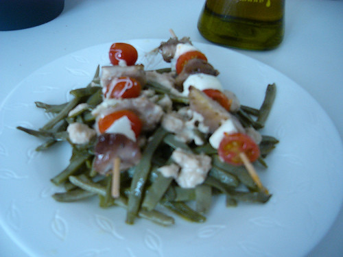 Judias verdes con brocheta de solomillo cocinar con for Cocinar judias verdes