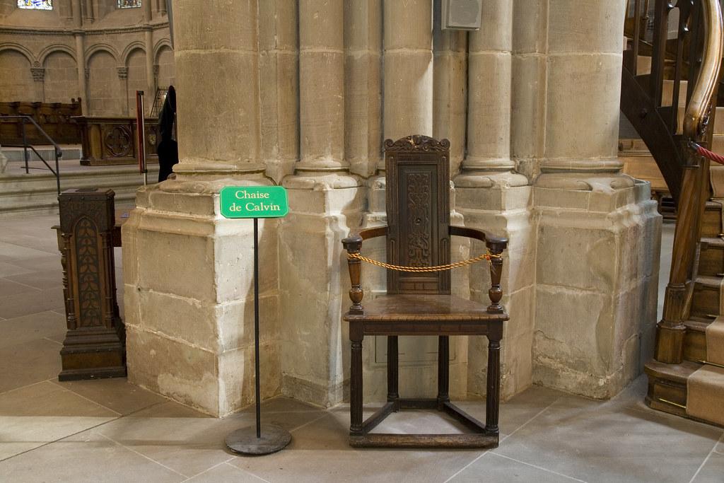 Cath drale de st pierre chaise de calvin john calvin 39 s for Chaise de calvin