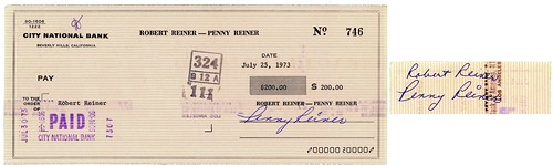 Penny Marshall check to Rob Reiner, July 25, 1973 | by Gary Dunaier