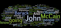 VP Debate wordcloud: Joe Biden + Sarah Palin