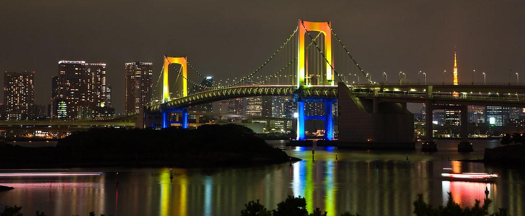 Rainbow Bridge, Tokyo, Japan | Rainbow Bridge as seen from ...