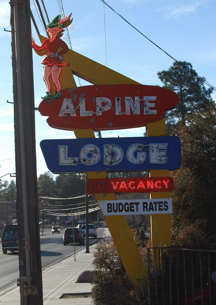 Alpine lodge this sign greets visitors to the alpine for The alpine lodge