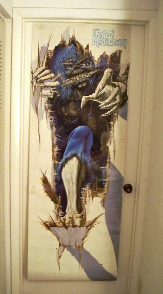 iron maiden eddie busting in old skool metal door poster