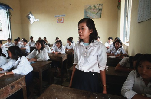 A student explains to her class how to prevent HIV/AIDS | by World Bank Photo Collection