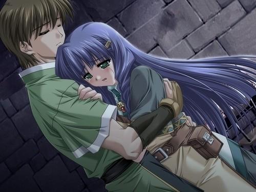 A comforting hug miya nickles flickr - Anime boy hugging girl ...