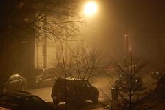 foggy, rainy night in Yonkers, New York