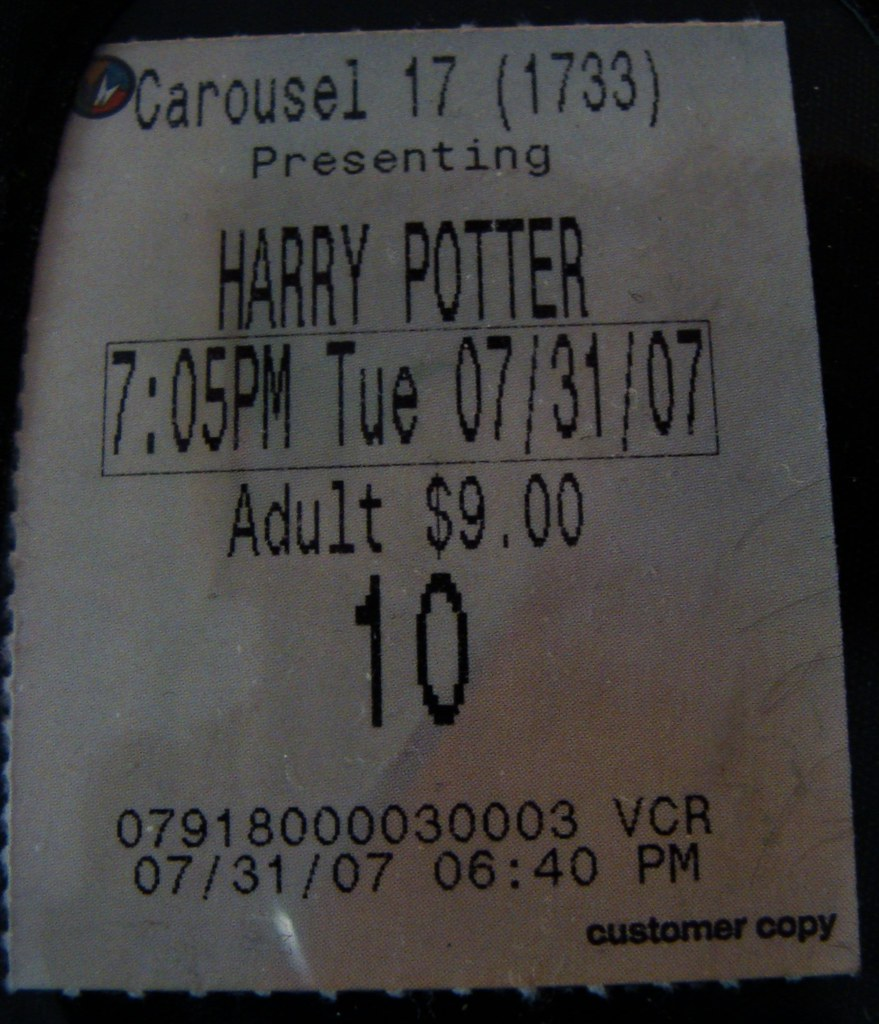 harry potter movie ticket submitted for aprils tmsh 9
