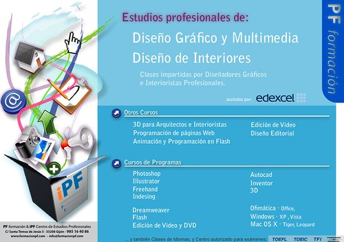 Cartel cursos y clases de dise o gr fico e interiorismo for Curso de diseno grafico gratis pdf