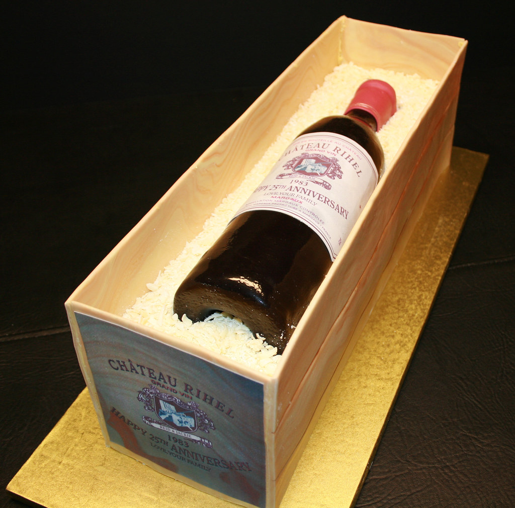 Wine Bottle Crate Cake Cake For 25th Anniversary Custom
