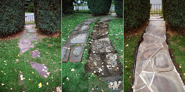 Flagstone Walkway Restoration | Left– Before Middle – Stones