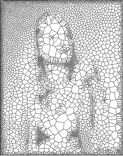 "Voronoi Portrait Sketch   Source image ""LUCKY STRIKE, GIRL"