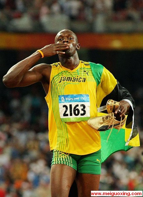 From Beijing with a Kiss: Usain Bolt wins 100m Olympic Gol ...