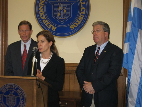 Attorney General Richard Blumenthal, Secretary of State Susan Bysiewicz and Veteran Joseph Nolan | by WNPR - Connecticut Public Radio