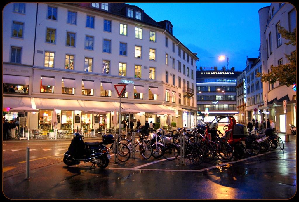 Downtown Zurich Switzerland At Nightfall In The