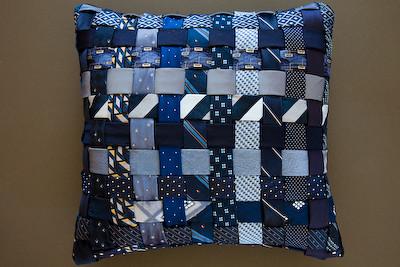 Decorative basket weave pillow handmade from men s ties Flickr