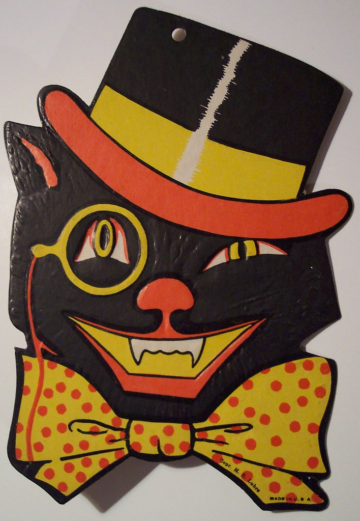 Vintage halloween cat with top hat made in u s a for Antique halloween decoration