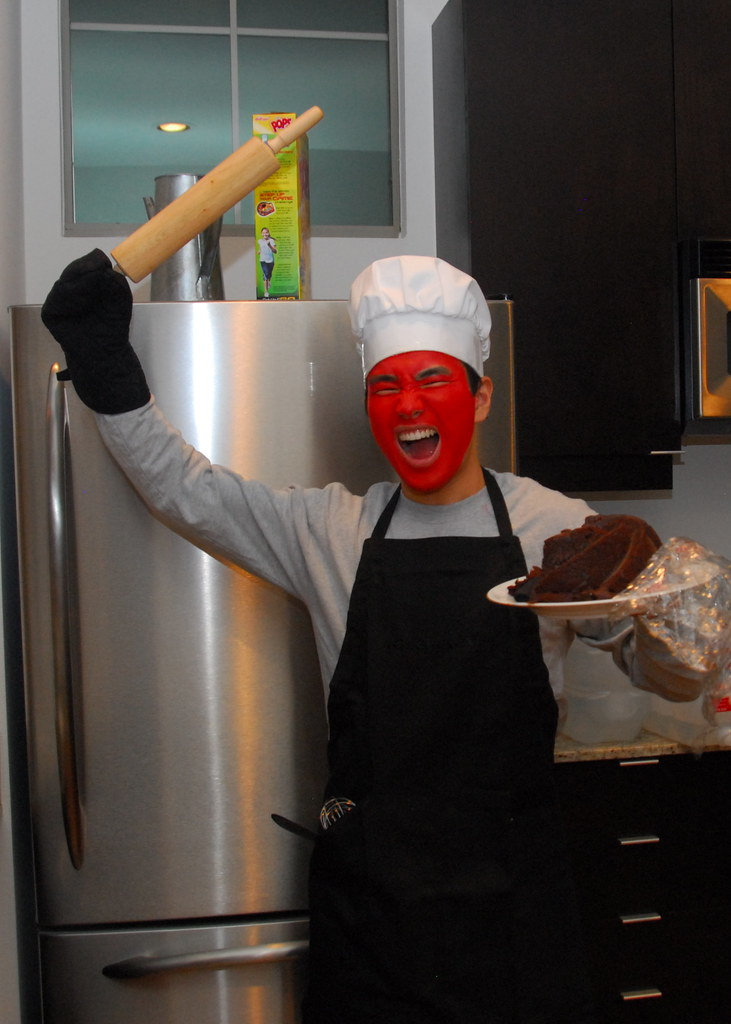 angry baker with choco...