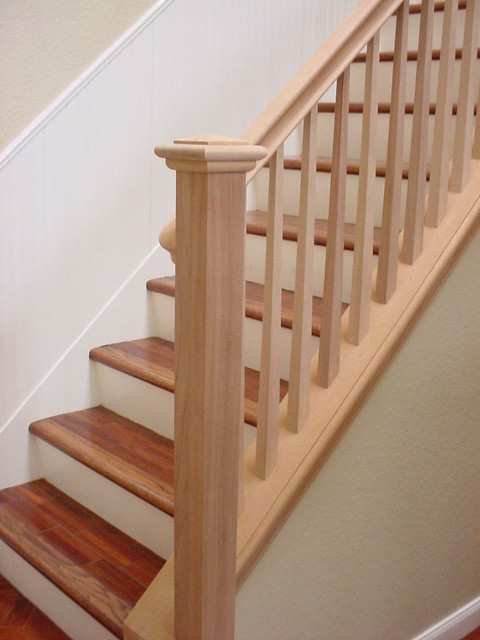 Mahogany stair rail square tapered balusters sdstair for Galandage 3 vantaux 3 rails