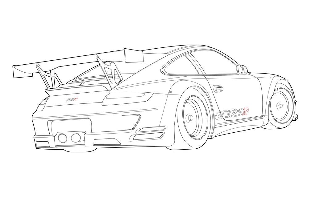 Porsche 911 Gt3 Rsr 3 Line Weight Drawing Digital Adobe