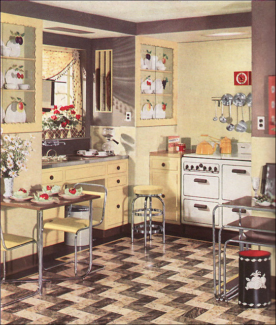 1936 Yellow Armstrong Kitchen With Geraniums