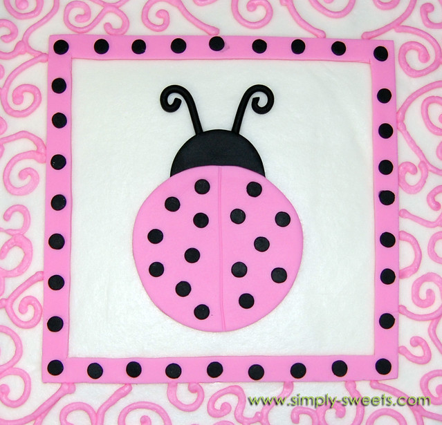 ... Pink And Black Ladybug Themed Baby Shower Cake Top View | By Sweet  Shoppe Mom And