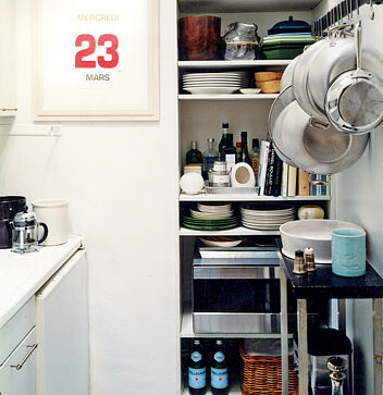 Small kitchen organization image from domino kay for Kitchen organization ideas small spaces