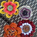 Button and Yarn Flower Pins