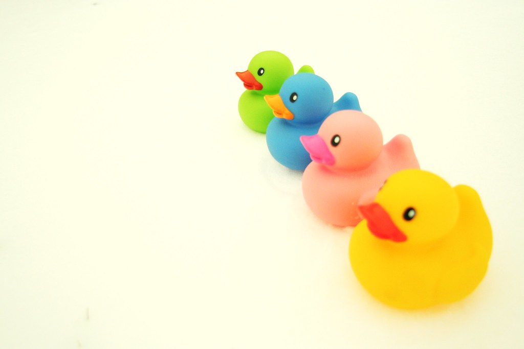 four rubber duckies all in a row, four rubber duckies all … | Flickr