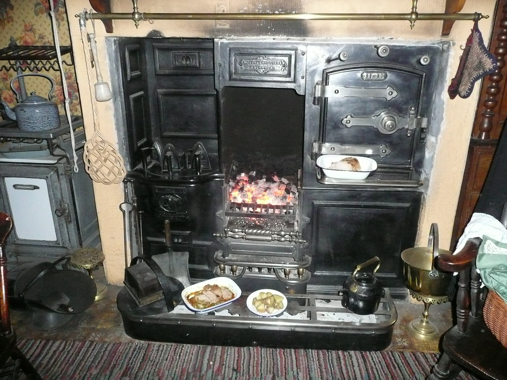 The Victorian Kitchen Fireplace A Huge Fire Glows In The